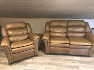 Brown leather chair and love seat sofa recliner