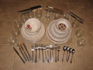 Pots,silverware,glasses and dishes for sale