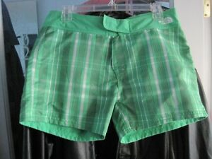 North Face Reversible Swim Shorties Womens Mojito Green Plaid
