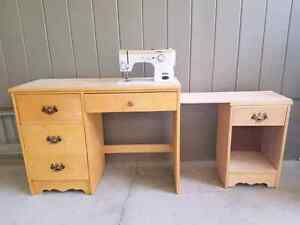 DROP IN SEWING MACHINE & 2 TABLES