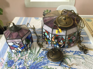 Set of stained glass lamps for sale.