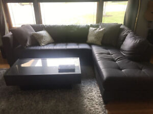 Sectional sofa, black faux leather