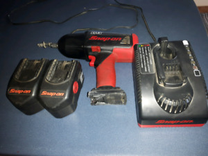 "Snap-On 1/2"" electric impact gun with charger and 2 batteries"