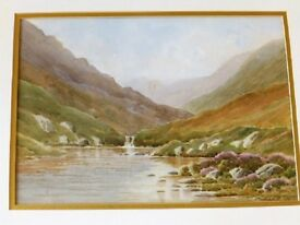 Irish Watercolour Painting G W Morrison Mourne Mountains