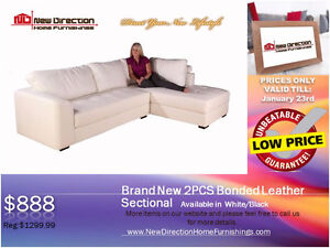 ◆Brand New 2pcs Bonded Leather Sectional on Sale@New Direction