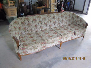 Antique French Provincial Sofa, chair and ottoman set