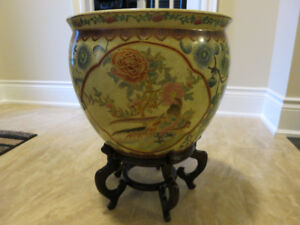 Chinese Porcelain Pot Planter with Stand Fish Koi Birds Decor
