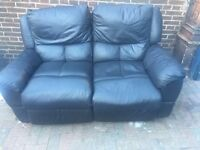 Recliner Leather Sofa Black