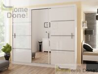 **14-DAY MONEY BACK GUARANTEE!**Elegant Victor Sliding Door Wardrobe in Black and White - SAME DAY!