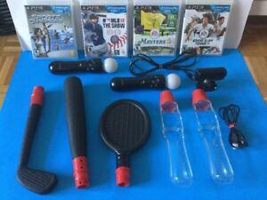 Kit Ps3 Ps Move jeux - manettes - accessoires de sports - 120$