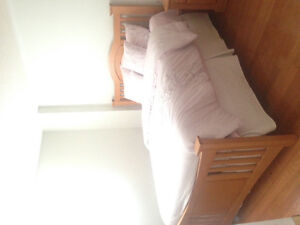 Queen size bed set with dresser and night table Cambridge Kitchener Area image 3