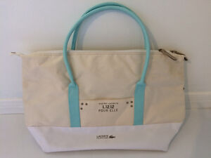 Authentic LACOSTE Zip Tote Bag - Baby Blue + Creme