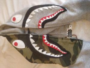 RARE WGM BATHING APE SHARK HOODIE 10/10 co *** Supreme Nike Bape