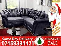 BRAND NEW CHENILLE FABRIC 3 AND 2 SEATER/ 5 SEATER CORNER SOFA SUITE IN LEATHERETTE EFFECT