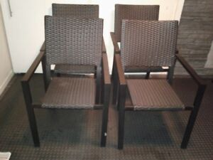 (4) BLACK WICKER CHAIRS