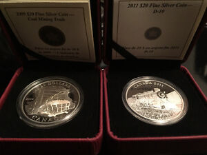 Silver, .999, coin, lot of 2, ROYAL CANADIAN MINT.