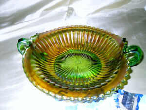 Pair of  Carnival Glass bowls with handles