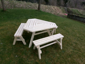 Triangle wooden garden table and 3 benches