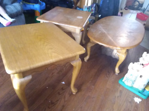 Solid blond oak coffee table and 2 end tables matching