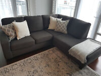Modern Two-piece Sectional Dark Grey - Excellent Condition