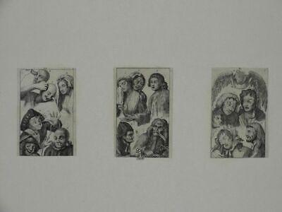 Karikatur Hogarth Radierung Fratzen Mimik Gesichter Schauspieler Kostüme - 1800