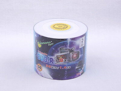 50 Pack Blank DVD-R 1.4GB 8X 8cm 3inch Mini DVD Printable Surface Factory Sealed