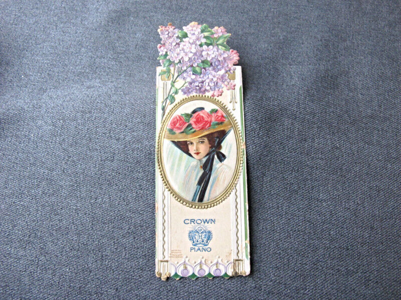 1910 woman portrait with hat & flowers Crown Piano adv bookmark Wolf Co Germany