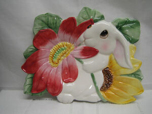 Fitz and Floyd Bunny Blooms Canape Plate