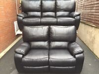 FREE DELIVERY - BLACK FAUX LEATHER 3 & 2 RECLINING LEATHER SOFAS