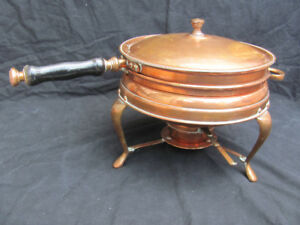 Heavy 7 pound Mid-Century All Copper Chafing Dish Made in Iran