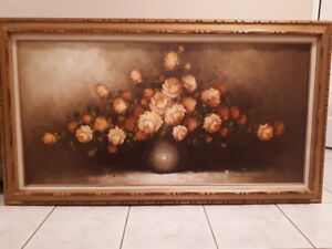 Vintage oil paining of bouquet of roses