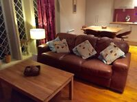 Brown Italian Real Leather 3 Seater Sofa