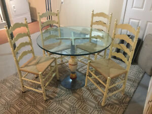 Antique iron based bistro table/ four oak chairs