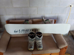 snowboard with bindings + size 9.5 boots