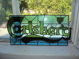 CARLSBERG STAINED GLASS SIGN (BEER SIGN)