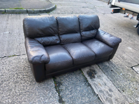 12. Brown leather 3 seater sofa