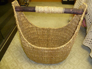 Selling Rattan Basket with Wood Handle
