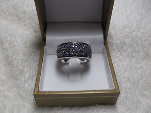 Amethyst Dinner Ring – Wide band Size 9 (.925 SS stamped)