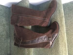 Ladies Clark's  brown suede high boots, size 7