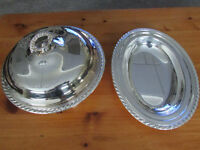 SILVER PLATED - DISH WITH LID/SERVING DISH - 3 PC. SET