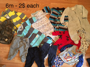 6m boys clothing, outfits, sleepers, pants etc.