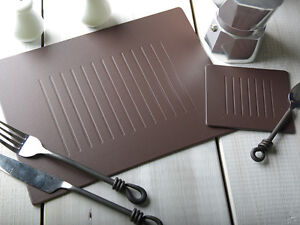 Set-of-4-BROWN-EMBOSSED-Leatherboard-PLACEMATS-4-COASTERS-8-Piece-Set