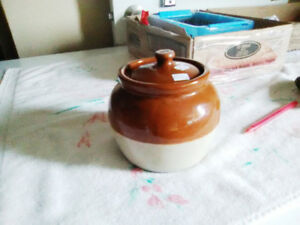 Lovely Stamped Medalta Pottery Bean Crock