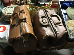 2 VINTAGE MEDICAL DOCTOR PROFESSOR LEATHER BAGS