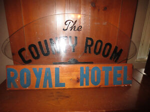 Old County Room Sign from Royal Hotel.