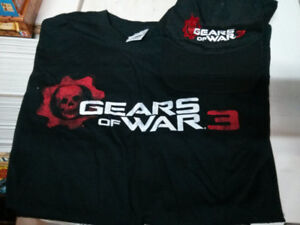 Gears of War 3 men t-shirt L and velcro adjustable hat $15