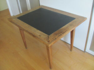 Antique Table with solid slate and inlay wood pattern