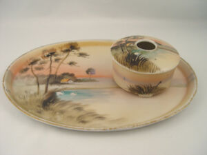 Antique Hand Painted Nippon Hair Receiver and Tray Vanity Set