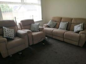 Dfs 3 piece reclining suite