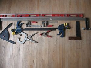 clamps, level, square